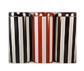 3 Coffeepodcanisters stripe/dot in red, black and brown (18 pods)