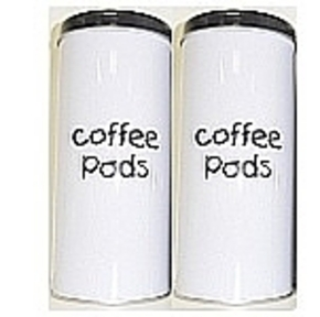 2 coffeepodcanisters Black and White for 18 pods